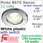 12 volt Ceiling Lights - Pinto 8675 Recess Ceiling Light with switch, WHITE with 10 watt XENON Bulb