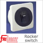Single Euro 48601 Rocker Switch, Black center and switch, with White bezel.