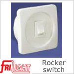 Single Euro 48601 Rocker Switch, White center and switch, with White bezel.