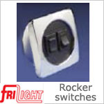 Dual Euro 48602 Rocker Switch, Black center and switches, with White bezel.