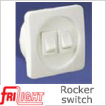 Dual Euro 48602 Rocker Switch, White center and switches, with White bezel.