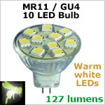 12 volt LED Bulbs (10-30vdc), MR11 GU4, WARM white, 127 lumens