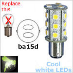 12 volt LED Bulbs (10-30vdc), ba15d Double Bayonet base, COOL white, 255 lumens