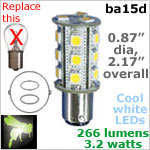 12 volt LED Bulbs (10-30v dc), ba15d Double Bayonet base, 266 lumens COOL white