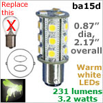 12 volt LED Bulbs (10-30v dc), ba15d Double Bayonet base, 231 lumens WARM white