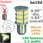 12 volt LED Bulbs (10-30v dc), ba15d Double Bayonet base, WARM white, 100 lumens