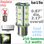 12 volt LED Bulbs (10-30v dc), ba15s Single Bayonet base, COOL white, 250 lumens