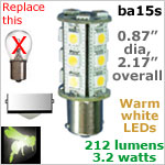 12 volt LED Bulbs (10-30v dc), ba15s Single Bayonet base, WARM white, 212 lumens