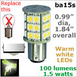 12 volt LED Bulbs (10-30v dc), ba15s Single Bayonet base, WARM white, 100 lumens