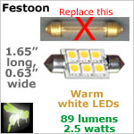 12 volt LED Festoon Bulbs (10-30vdc), WARM white, 89 lumens