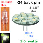 12 volt LED Bulbs (10-30 vdc), G4 back pins, BLUE LEDs