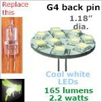 12 volt LED Bulbs (10-30 vdc), G4 back pins, COOL white, 165 lumens