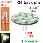 12 volt LED Bulbs (10-30 vdc), G4 back pins, RED LEDs