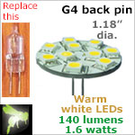 12 volt LED Bulbs (10-30 vdc), G4 back pins, WARM white, 140 lumens