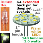 12 volt LED Bulbs (10-30 vdc), G4 EXTENDED back pins, WARM white, 140 lumens