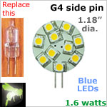 12 volt LED Bulbs (10-30 vdc), G4 side pins, BLUE LEDs