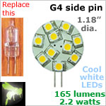 12 volt LED Bulbs (10-30 vdc), G4 side pins, COOL white, 165 lumens