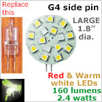 12 volt LED Bulbs (10-30vdc), G4 side pins, Bicolor (switchable), 3 RED LEDs, 12 WARM white LEDs 160 lumens
