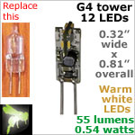 12 volt LED Bulbs (10-30vdc), G4 Tower, WARM white, 55 lumens
