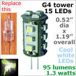 12 volt LED Bulbs (10-30vdc), G4 Tower, COOL white, 95 lumens