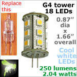 12 volt LED Bulbs (10-30vdc), G4 Tower, COOL white, 250 lumens