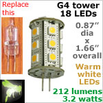 12 volt LED Bulbs (10-30vdc), G4 Tower, WARM white, 212 lumens