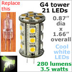 12 volt LED Bulbs (10-30vdc), G4 Tower, COOL white, 280 lumens