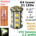 12 volt LED Bulbs (10-30vdc), G4 Tower, WARM white, 255 lumens