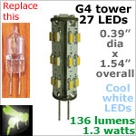 12 volt LED Bulbs (10-30vdc), G4 Tower, COOL white, 136 lumens