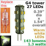 12 volt LED Bulbs (10-30vdc), G4 Tower, WARM white, 143 lumens