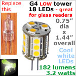 12 volt LED Bulbs (10-30vdc), G4 Low Tower, COOL white, 182 lumens