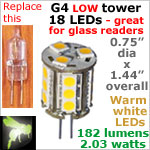 12 volt LED Bulbs (10-30vdc), G4 Low Tower, WARM white, 182 lumens