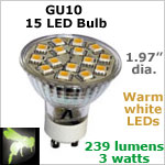 12 volt LED Bulbs (10-30vdc), MR 16 GU10, WARM white, 239 lumens