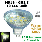 12 volt LED Bulbs (10-30vdc), MR 16 GU5.3, WARM white, 110 lumens