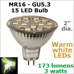 12 volt LED Bulbs (10-30vdc), MR 16 GU5.3, WARM white, 173 lumens