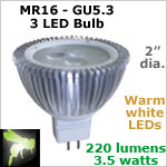 12 volt LED Bulbs (10-30vdc), MR 16 GU5.3, WARM white, 220 lumens