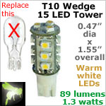 12 volt LED Bulbs (10-30vdc), T10 wedge tower, WARM white, 89 lumens