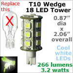 12 volt LED Bulbs (10-30vdc), T10 wedge tower, COOL white, 266 lumens