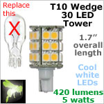 12 volt LED Bulbs (10-30vdc), T10 wedge High Power tower, COOL white, 420 lumens