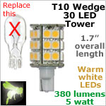 12 volt LED Bulbs (10-30vdc), T10 wedge High Power tower, WARM white, 380 lumens