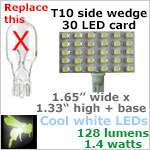 12 volt LED Bulbs (10-30vdc), T10 Wedge Rectangle, COOL white, 128 lumens