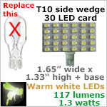 12 volt LED Bulbs (10-30vdc), T10 wedge rectangle 921, WARM white, 117 lumens