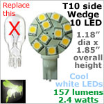 12 volt LED Bulbs (10-30vdc), T10 Wedge side entry 921, COOL white, 157 lumens