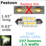 12 volt Festoon LED Bulb (10-30vdc), COOL white, 107 lumens