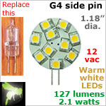12 volt AC-DC LED Bulb, Landscape-Display Case, G4 side pins, WARM white, 127 lumens