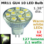12 volt AC-DC LED Bulb, MR11 GU4 Landscape-Display Case, WARM white, 127 lumens