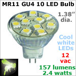 12 volt AC-DC LED Bulb, MR11 GU4 Landscape-Display Case, COOL white, 157 lumens