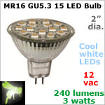 12 volt AC-DC LED Bulb, MR 16 GU5.3 Landscape-Display Case, COOL white, 240 lumens