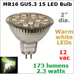 12 volt AC-DC LED Bulb, MR 16 GU5.3 Landscape-Display Case, WARM white, 173 lumens