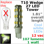 12 volt AC-DC LED bulb, T10 wedge tower Landscape-Display Case, COOL white, 107 lumens